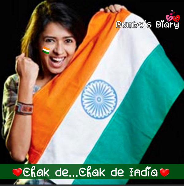 A girl with indian flag quote