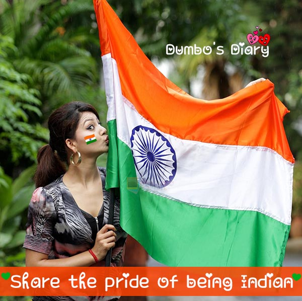Girl kissing indian flag dp with quote